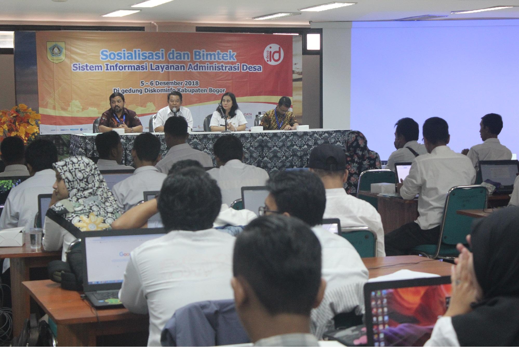Diskominfo Kabupaten Bogor Gelar Sosialisasi dan Bimtek Sistem Informasi Layanan Administrasi Desa