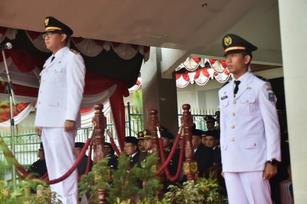 Wakil Bupati Bogor Pimpin Upacara Penurunan Bendera Merah Putih Hut RI Ke-74
