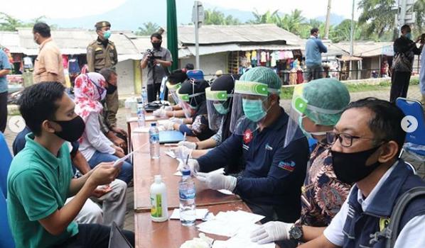 Gugus Tugas Covid-19 Kabupaten Bogor Gelar Rapid dan Swab Test di Pasar Cigudeg